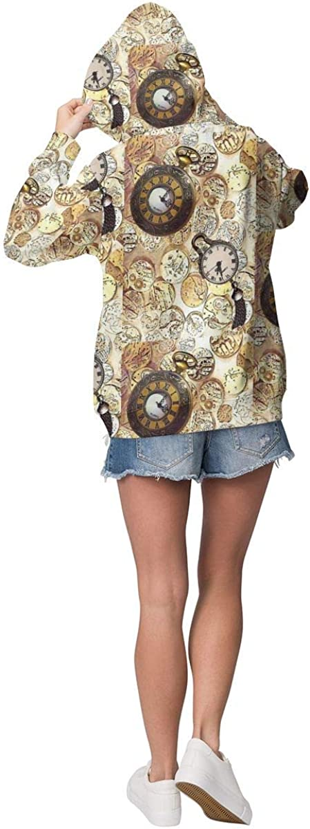 AZOULA Womens Hoodie Watchparts Steampunk Pullover Long Sleeve Comfortable Lightweight Sweatshirt with Pocket