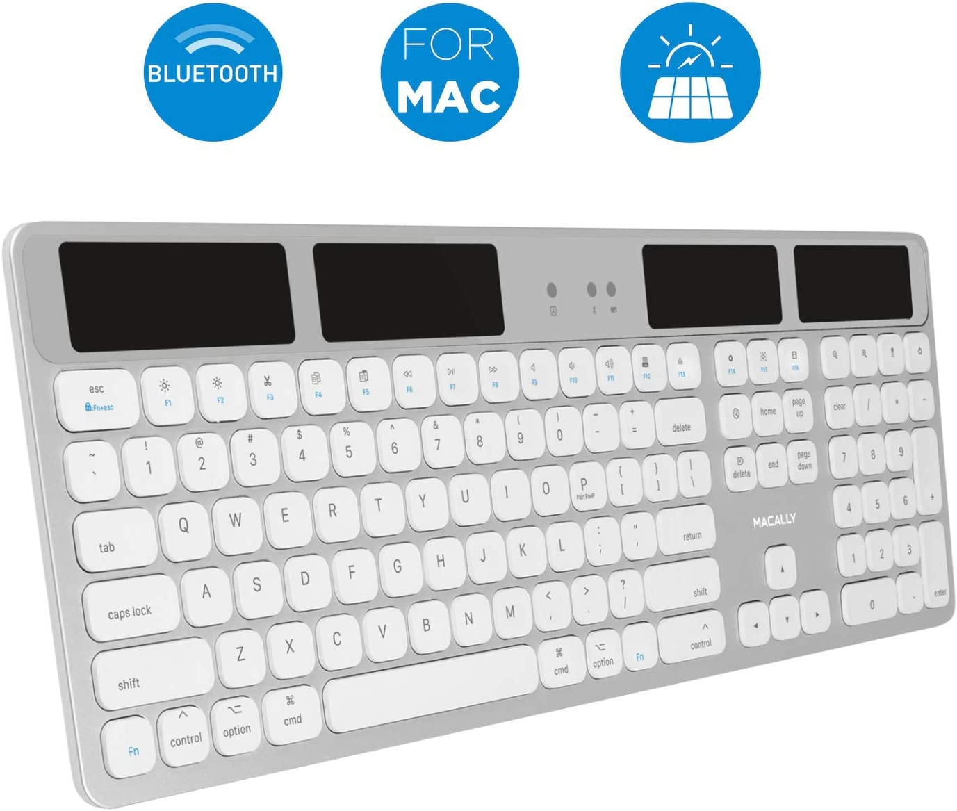 Macally Bluetooth Wireless Solar Keyboard for Mac - Rechargeable via Any Light Source (150 hr Battery Life) - Mac Wireless Keyboard with Numeric Keypad & 21 Apple Shortcuts - Aluminium