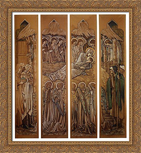 The Nativity, Cartoons for Stained Glass at St. David's Church, Hawarden 28x32 Large Gold Ornate Wood Framed Canvas Art by Edward Burne Jones