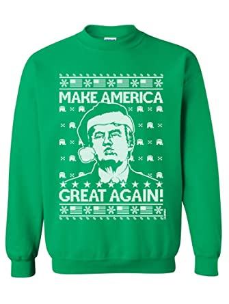98632b6ff8f1 Manateez Ugly Christmas Sweater Donald Trump Make America Great Again Crew  Neck Sweatshirt at Amazon Men's Clothing store: