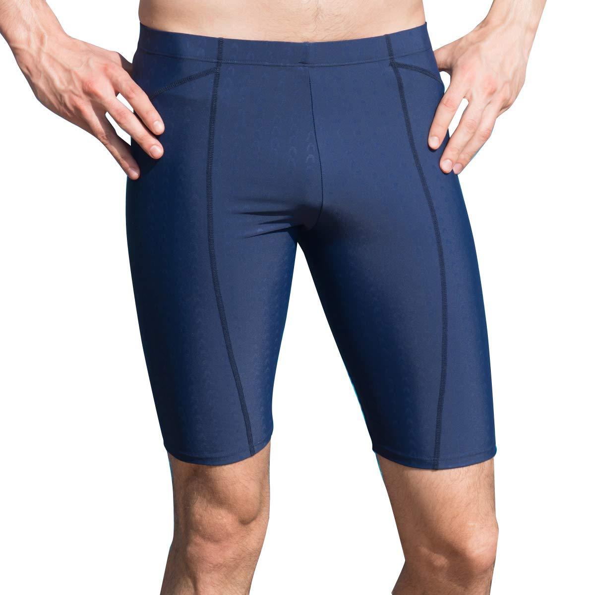 AIEOE Men Jammer Swimwear Mesh Lined Drawstring Adjustable Waistline High Elastic Swim Trunk XS Black//Red