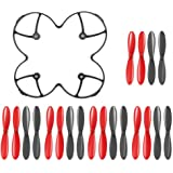 AFUNTA Propeller Blades Protection Guard Cover and Props 5x sets for Hubsan X4 H107C H107D Quadcopter -- Black / Red