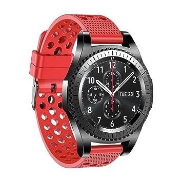 Correa de reloj de silicona para Samsung Gear S3 Classic, para hombre y mujer, 22 mm, rojo: Amazon.es: Deportes y aire libre