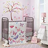Lambs & Ivy Happi by Dena 4 Piece Butterfly Garden Crib Bedding Set, White/Pink/Purple