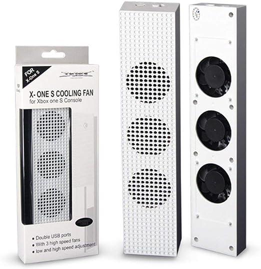 Rouku para Ventilador de enfriamiento Xbox One S con 2 Puertos USB Hub y 3 Ventiladores de enfriamiento de Ajuste de Velocidad H/L Cooler for Xbox One Slim Gaming Console: Amazon.es: Hogar