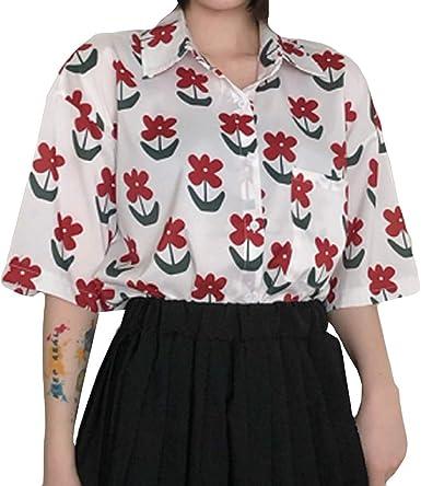 Berimaterry Impresión, La florBlusa de Mujer Camisa de Manga ...