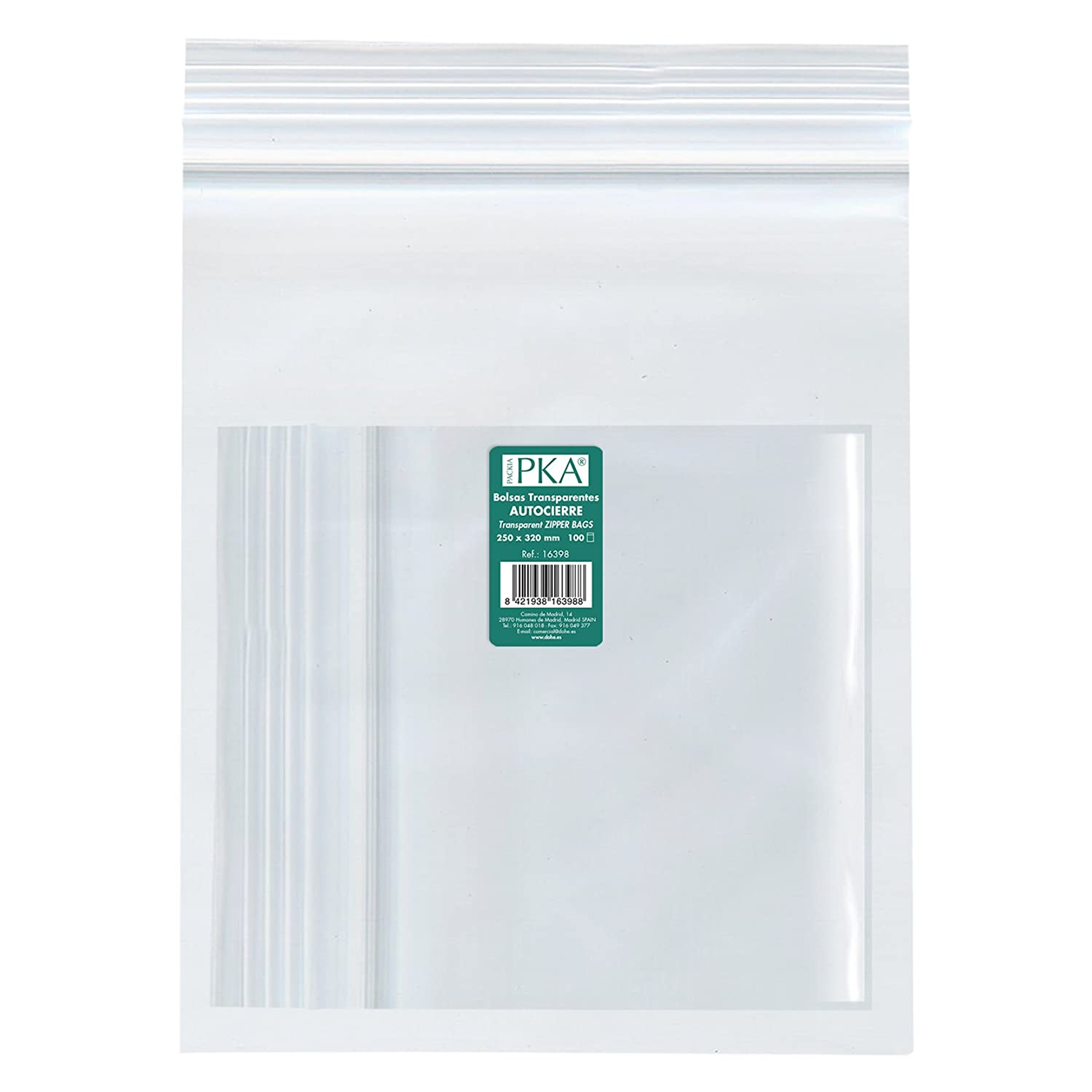 PKA 16398  –   Pack of 100  Resealable Plastic Bags, 250  x 320  mm 250 x 320 mm Dohe