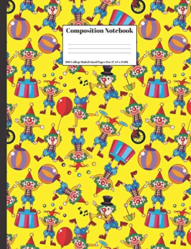 Composition Notebook: Funny Clowns Pattern Design 100 College Ruled Lined Pages Size (7.44 x 9.69)