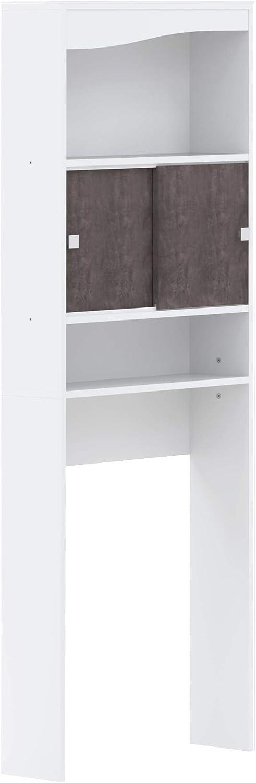Marca Amazon -AmazonBasics - Mueble de baño, 64.3 x 19.2 x 177cm (largo x ancho x alto), blanco y efecto hormigón