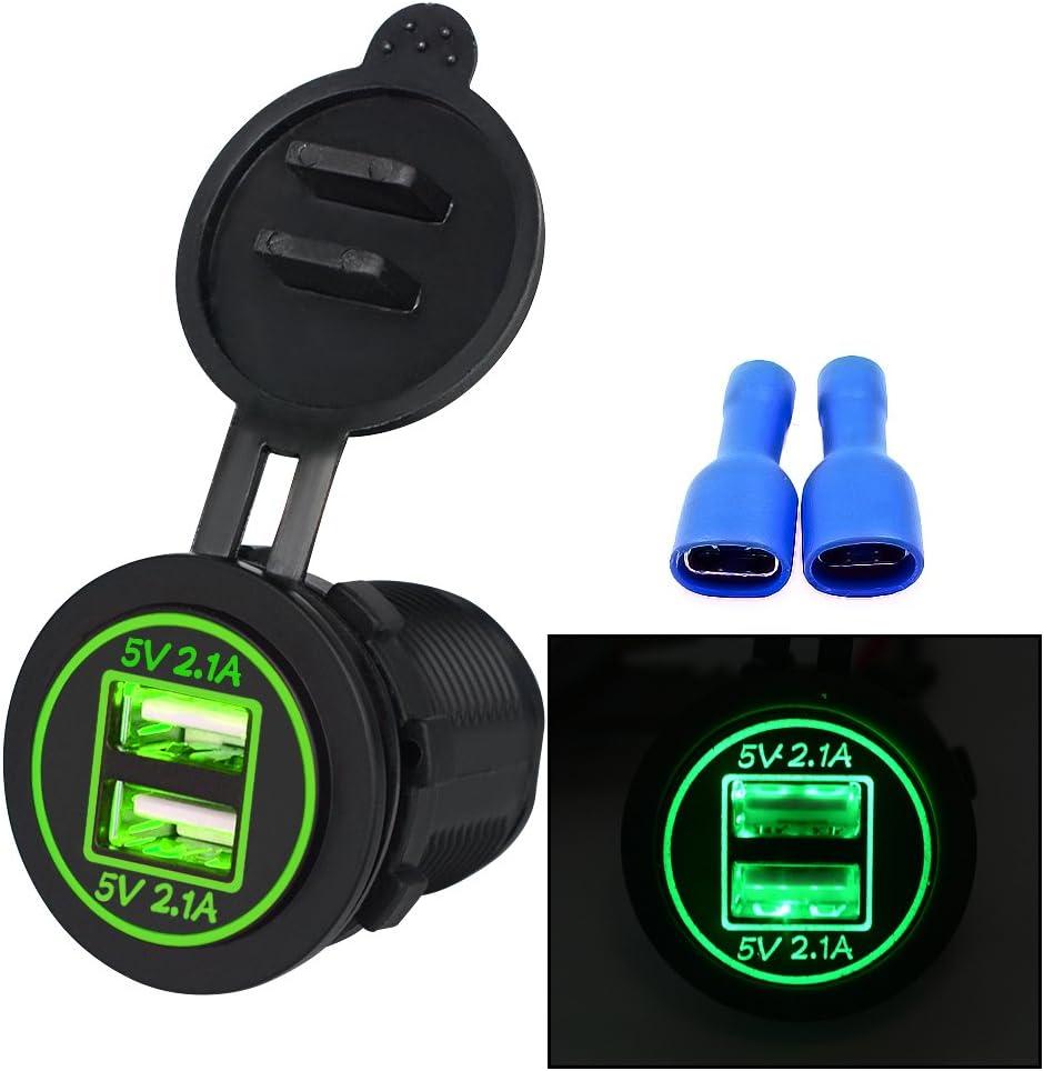 Gr/ün Kriogor 4.2A Dual USB Steckdose Ladeger/ät f/ür Auto Boot Motorrad 12-24 Volt IP66