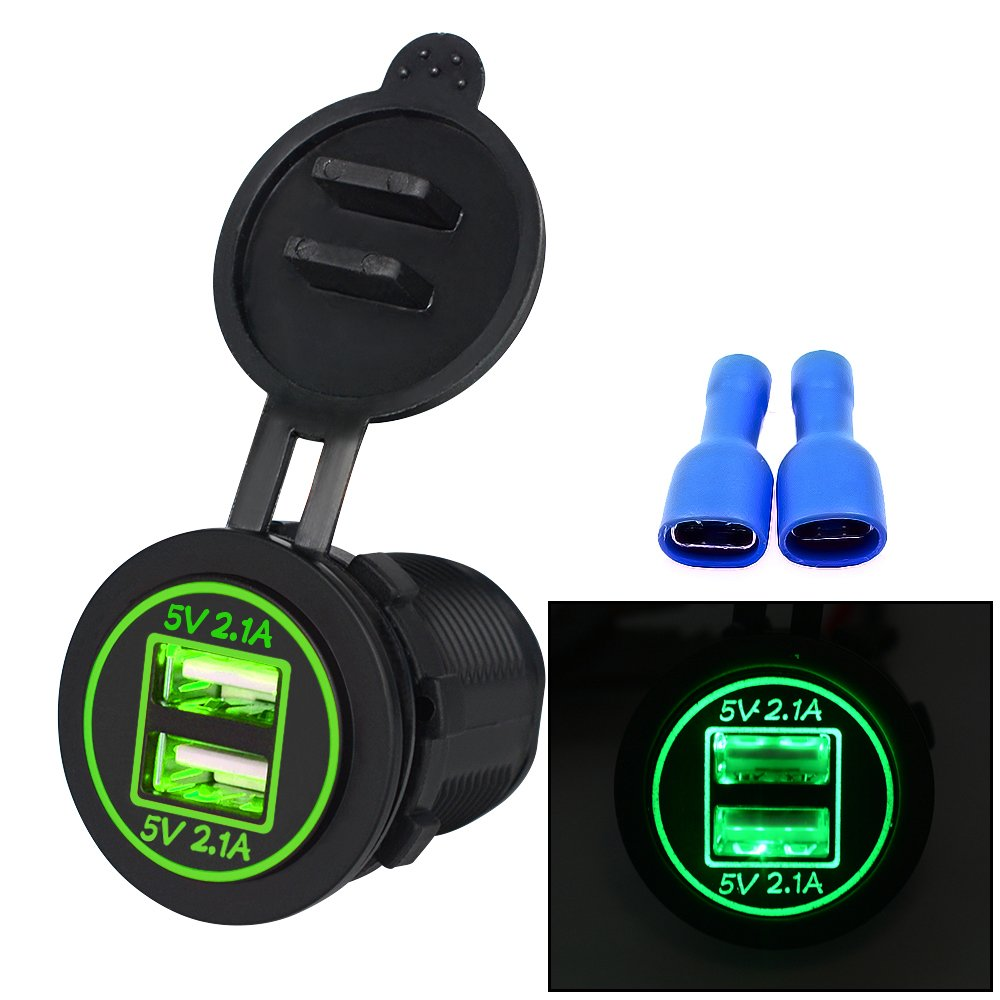 Samoleus Impermeabile LED 12-24V Adattatore da Moto USB Caricabatteria da Auto con Voltmetro Display Power Socket per Moto Barca Marino (2 IN 1-Verde)