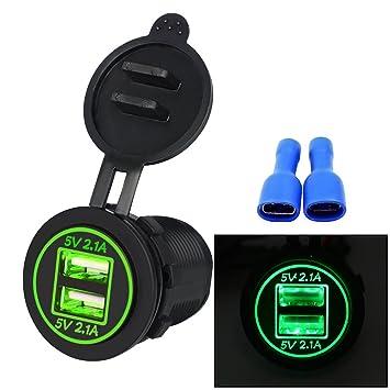 Cargador de Coche, Samoleus Doble Puerto USB Adaptador Cargador USB Móvil para Teléfonos Móviles, Tabletas, IPad, Navegación y GPS, Motocicletas, ...