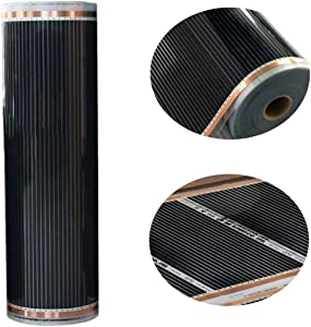 Carbon Fiber Far Infrared Heating Film, Electric Floor Heating System with Thermostat for Underfloor, Bed, Yoga, Laminate Flooring, Maintenance Free, House Heating