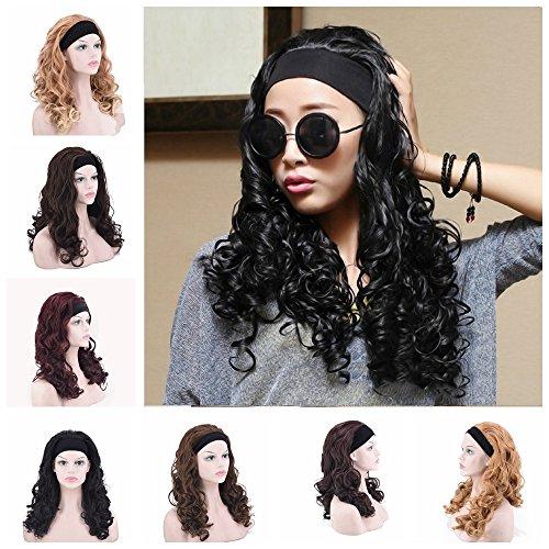 - Headband Half Wig New Style Fashion Wig Long Wavy Hair Synthetic Wig for Women (black)