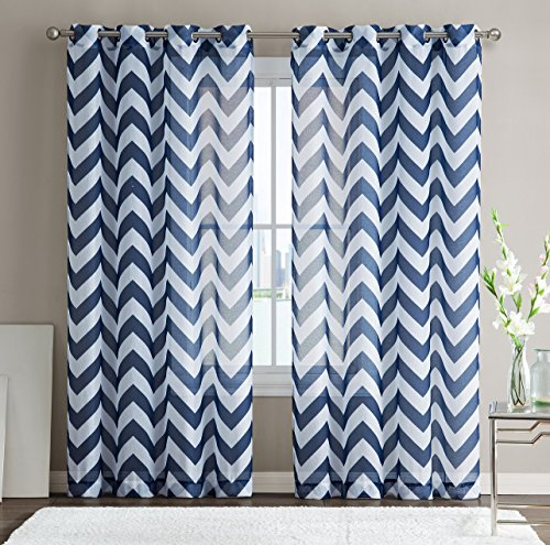HLC.ME Chevron Printed Premium Window Sheer Curtain Voile Panels With Grommets for Living Room, Bedroom & Kids Room - 2 Panel Set - 63