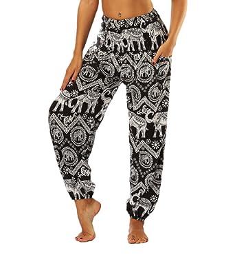 Sarouel Bohémien Smocké Yoga Jogging Sport Casual Pilate Éléphant Thai Pantalon Imprimé Pantalons Taille Harem Jltph Femme Haute 3q4c5RAjL