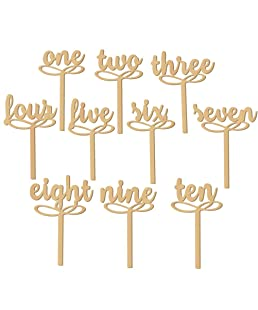 NUOLUX 10pcs 1-10 Wooden Table Numbers on Sticks for Wedding or Home Decoration (Wood Color)
