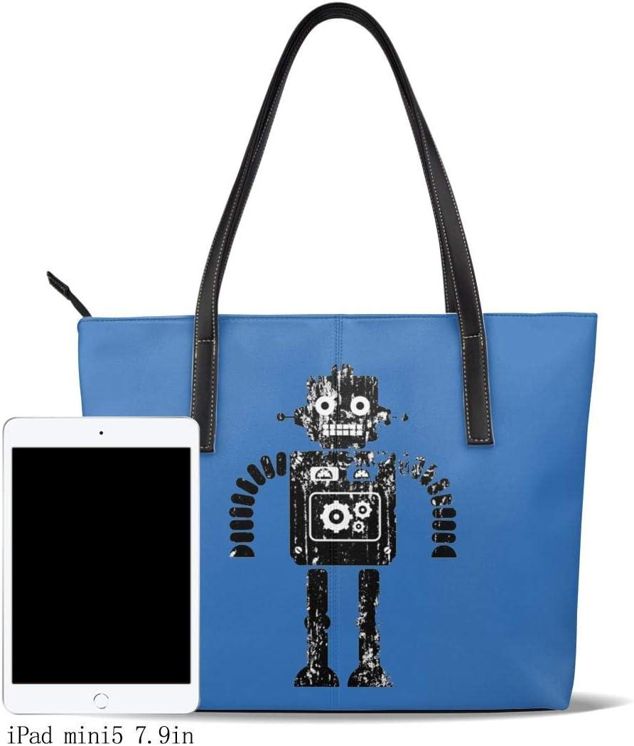 WAY.MAY Robot Vintage Leather Tote Bags Zippered Handbags Shoulder Bag