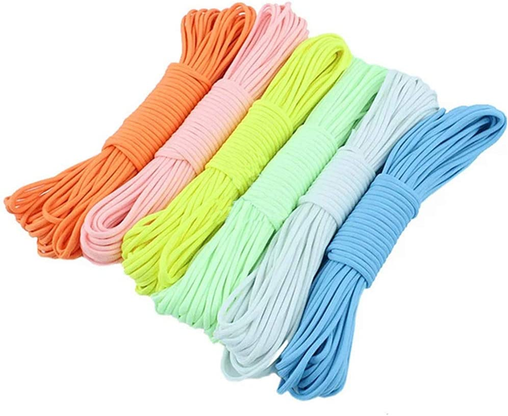 Reflective Parachute Cord 550lb 6 Colors 10 Feet Paracord Cord 550 Multifunction Type III Paracord Ropes Survival Paracord 9 Strand Cord Tent Rope Outdoor Survival Rope