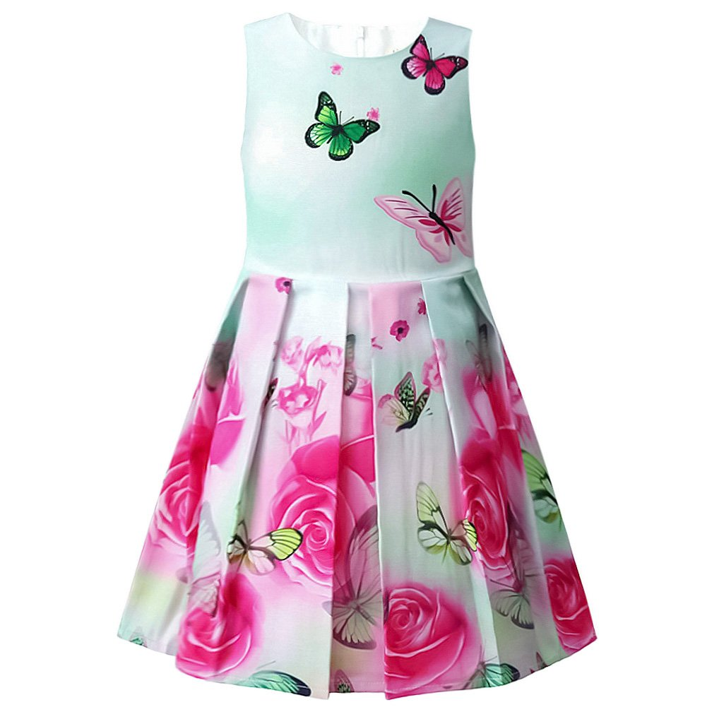 Jxstar Summer Little Girls Flower Dress Prom Rose Print Party Sundress Swing