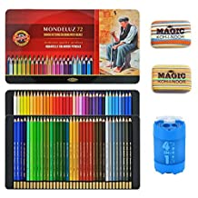 KOH-I-NOOR Artist's Set of Mondeluz Aquarelle 72 Coloured Pencils + 2xEraser + Sharpener 4 in 1 by Koh-I-Noor