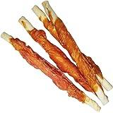 Hähnchenfilet Stangen Schonend getrocknet fettarm und gut bekömmlich Kauknochen für Hunde aus Büffelhaut umwickelt mit frischem Hähnchenfilet Fleisch Dörrfleisch der Extra Klasse