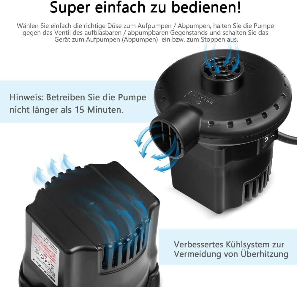 Deeplee Elektrische Luftpumpe Luftpumpe f/ür luftmatratze 2 in 1 Inflate und Deflate Elektrische Pump mit 3 Luftd/üse f/ür aufblasbare Matratze,Sofa,Bett,Boot,Schwimmring