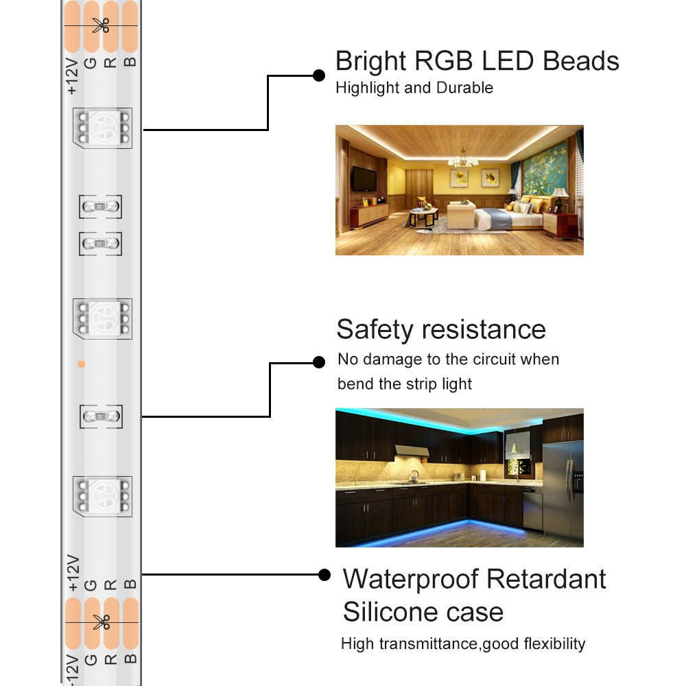 MINGER LED Strip Light Waterproof 16.4ft RGB SMD 5050 LED Rope Lighting Color Changing Full Kit with 44-keys IR Remote Controller & Power Supply Led Strip Lights for Home Kitchen Bed Room Decoration by MINGER (Image #4)