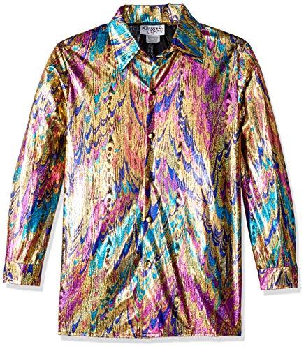 Charades Men's Multi Glitter Disco Shirt, as Shown, ()