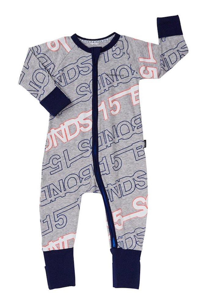 Baby Wondersuit 2 Way Zip Sleep and Play Fold Over Hand/Feet Cuffs (0-3 Months, Grey Retro) by Bonds