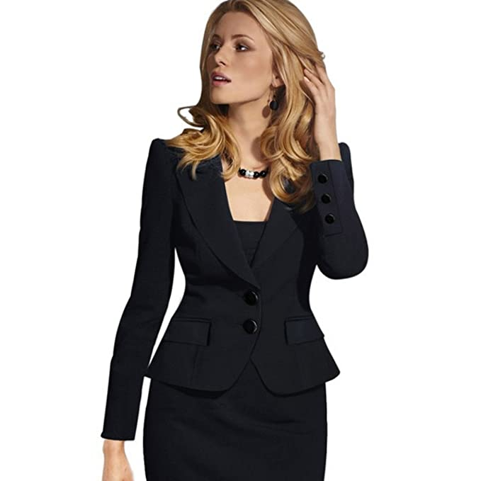 Amazon.com: De la Mujer two-button Suit chamarra elegante de ...