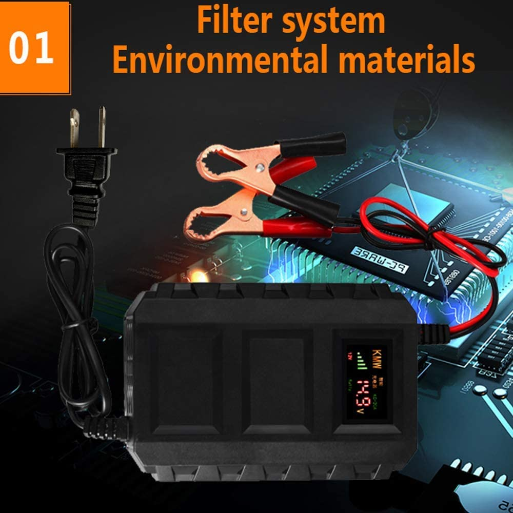 Baoer KC-20A 12V Smart Battery Charger for Auto Motorcycle Lead Acid LCD Display Car Batteries Charging Adaptor US Plug