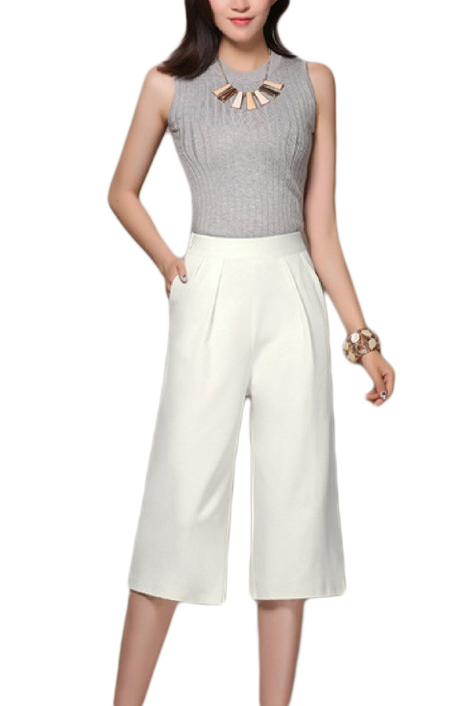 Women Elegant Plus Size Casual High Waist Wide Leg Capri Pants Trousers CAMEG236