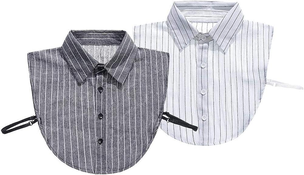 ViewEnore, blusa de media camisa con cuello falso, rayas de algodón, cuello falso Blanco Negro + F: Amazon.es: Ropa y accesorios