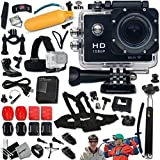 KoolCam AC300 Waterproof ACTION Camera / Camcorder HD 1080p H.264 w/ Wifi + SUPER Accessories Kit Includes: Head Strap + Chest Strap + Helmet Mount + Handheld Extendable MONOPOD Pole + Long Life Battery + USB Charging Cable + Camera Wrist Mount + Hermetically Sealed Floating Bobber + Adjustable Bike Mount + Remote Control Wrist Mount + External Charger + Adjustable Tripod Mount + 2 Adhesive Flat Stickers / Flat Surface Mounts + 2 Adhesive Curved Stickers / Curved Surface Mounts + Assorted Camera Mounts / Clips + an Extra Hard Waterproof Cover + Memory Card Wallet Holder + Screen Protectors + Lens Cap Keeper + Mini Table Tripod + Deluxe Cleaning Kit + Ultra Fine HeroFiber Cleaning Cloth