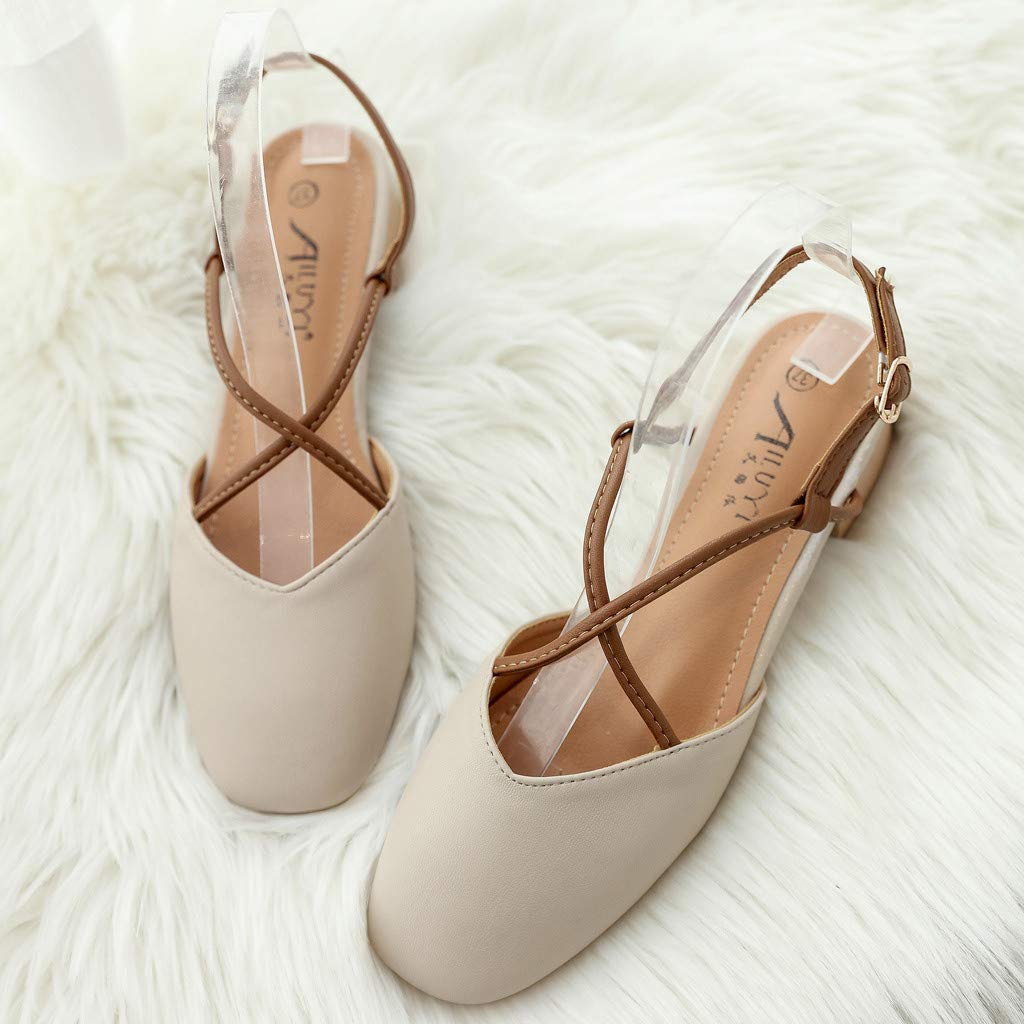 Lurryly Sandals for Women,Mid-Heels with Buckle Student Shoes Wild Toe Thick Heel Sandals