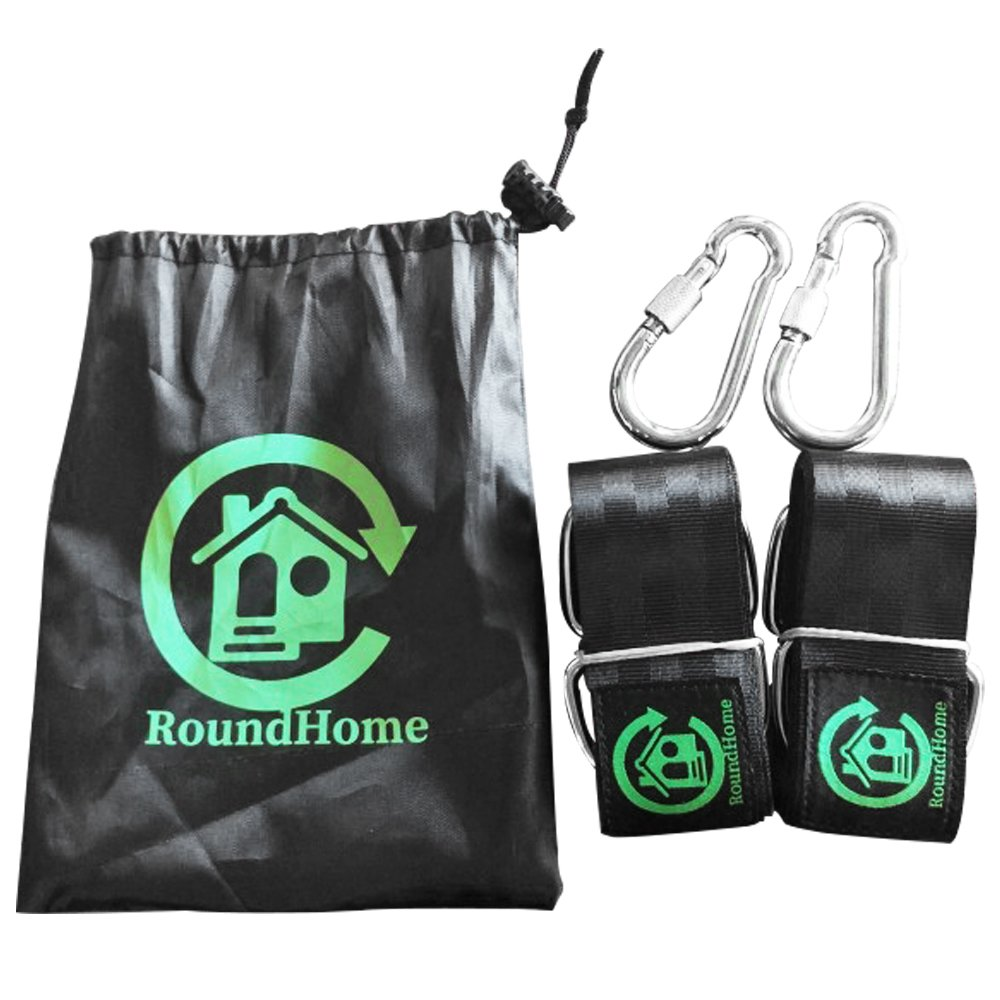 RoundHome Tree Swing Hanging Strap Kit Holds 2200 lbs,5ft Extra Long Straps with Safety Lock Snap Carabiner Hooks. Perfect for Tree Swing,Hammocks, & Porch Swings. Easy Installation. Carry Bag Incl