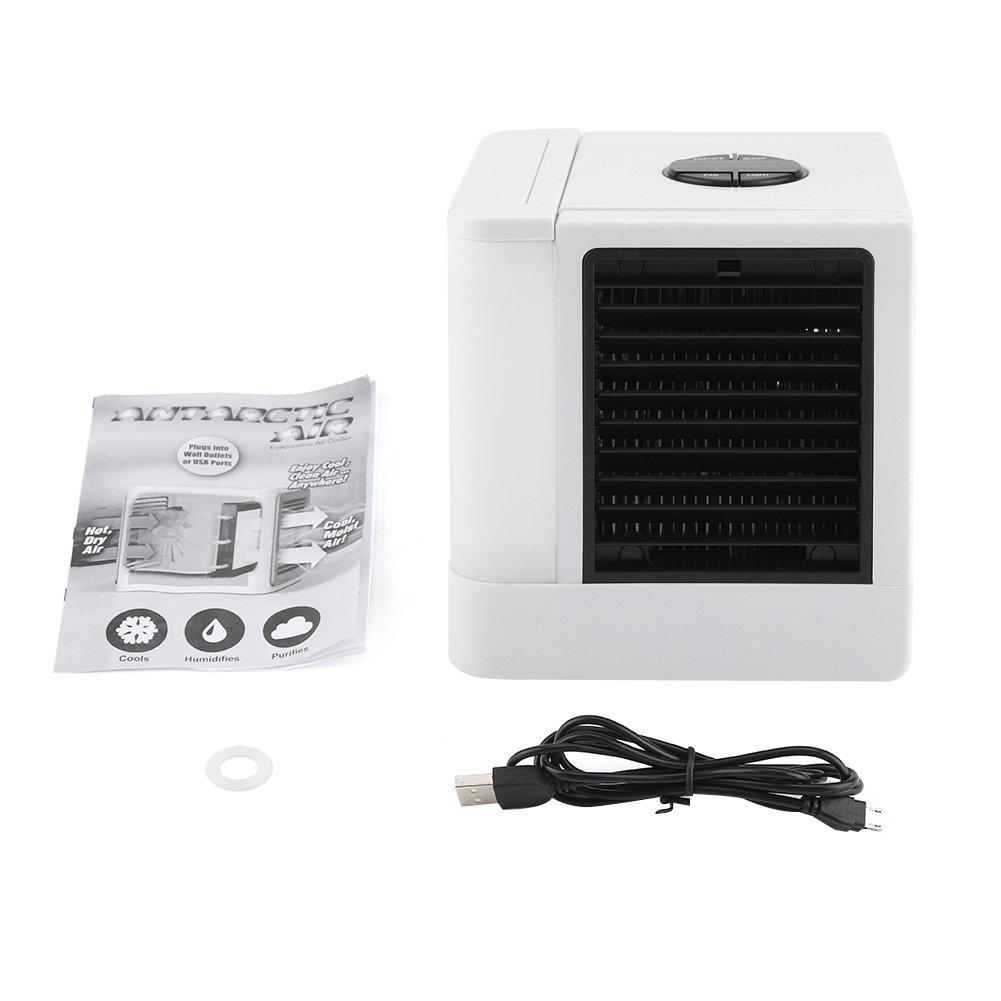 Aire Acondicionado USB Port/átil Enfriador Enfriador//Ventilador Humidificador Filtro de Aire Port/átil con Luz Nocturna LED y 3 Velocidades Ajustables para Office Home Outdoor Travel