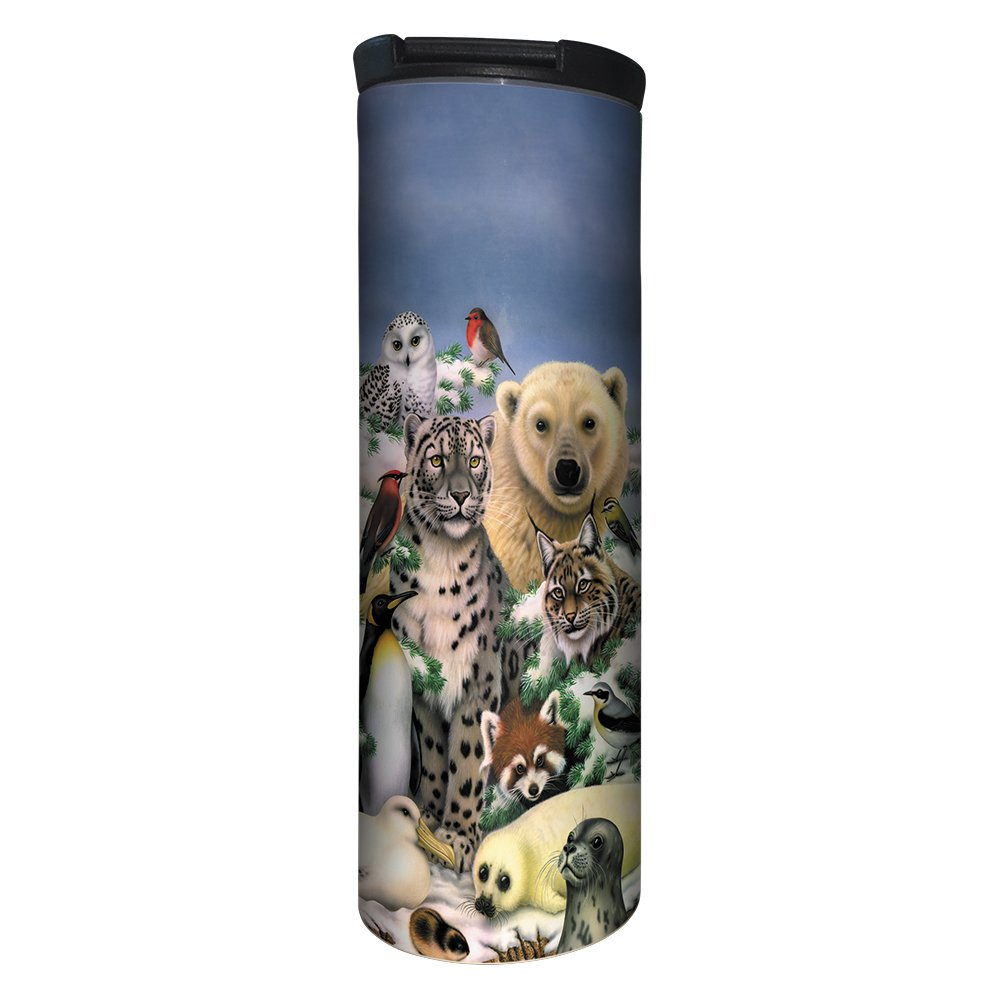 Tree-Free Greetings BT20802 Barista Tumbler Vacuum Insulated, Stainless Steel Travel Coffee Mug/Cup, 17 Ounce, Arctic Animals
