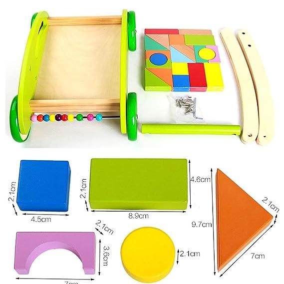 Amazon.com: Andador de madera para bebé con bloques de ...