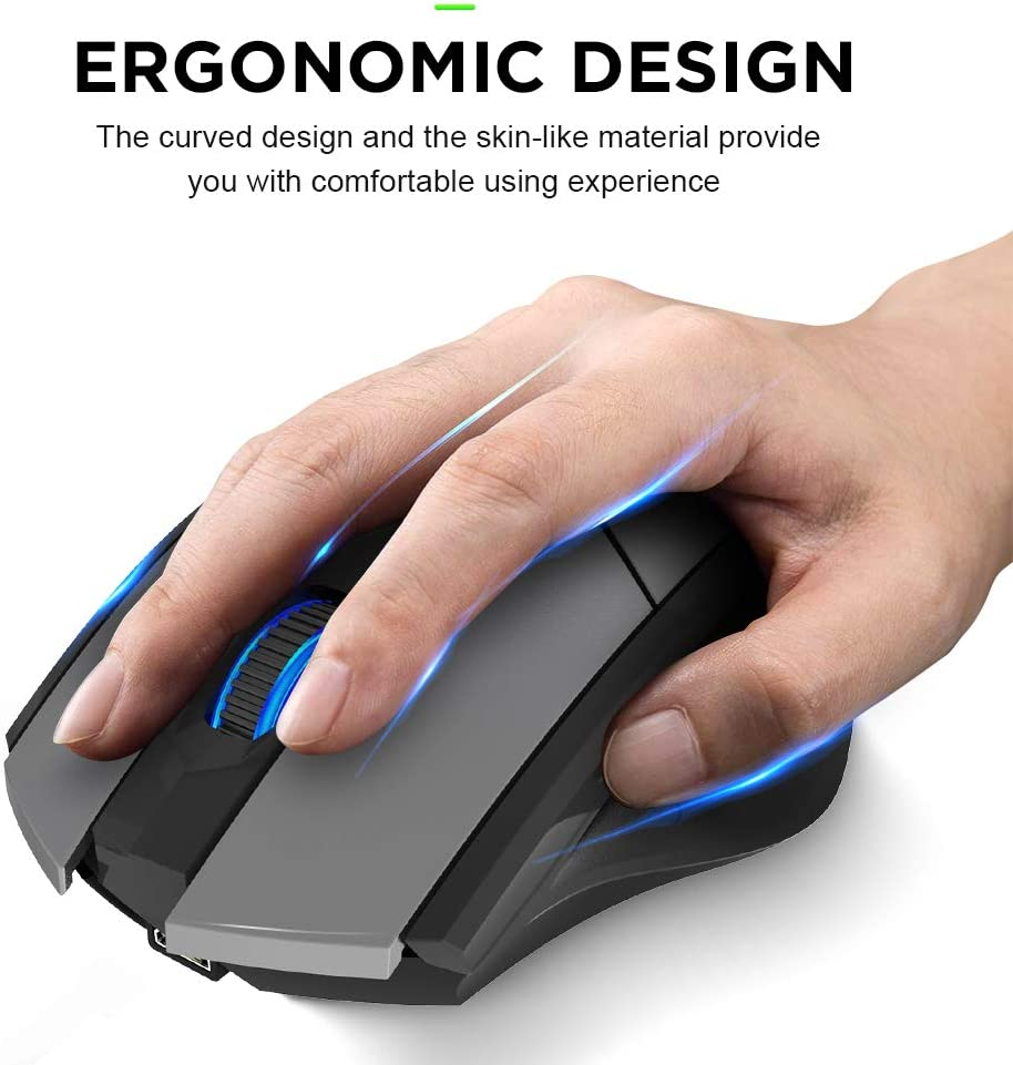 3 DPI Adjustment Bluetooth Mouse with Silent Tri-Mode:BT 5.0//3.0+2.4Ghz Ergonomic Optical Portable Mouse for Laptop Android Windows Mac OS Inphic Rechargeable Wireless Mouse Multi-Device Grey