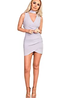 3eea88ea8c Ikrush Womens Taliyah Choker Neck Skater Dress Nude UK 14  Amazon.co ...
