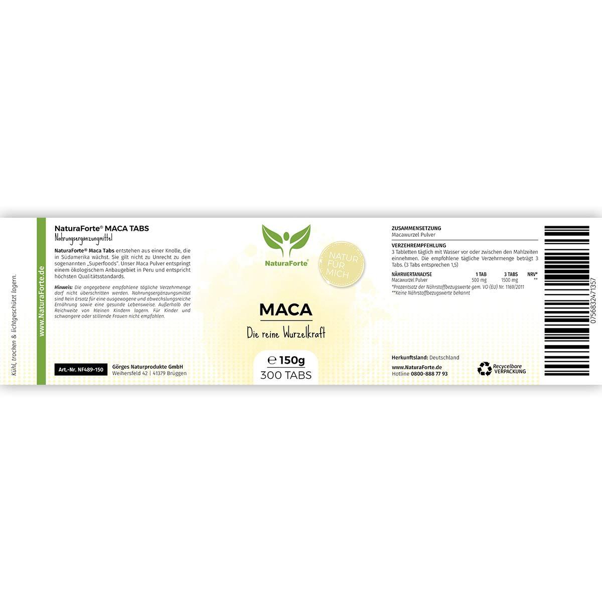 Maca En Cápsulas (300 Tabletas) | Procedente de Perú | Vitamina B, C y E y Fuente de Calcio, Hierro, Zinc y Magnesio - Fuerza - Potencia - Resistencia ...