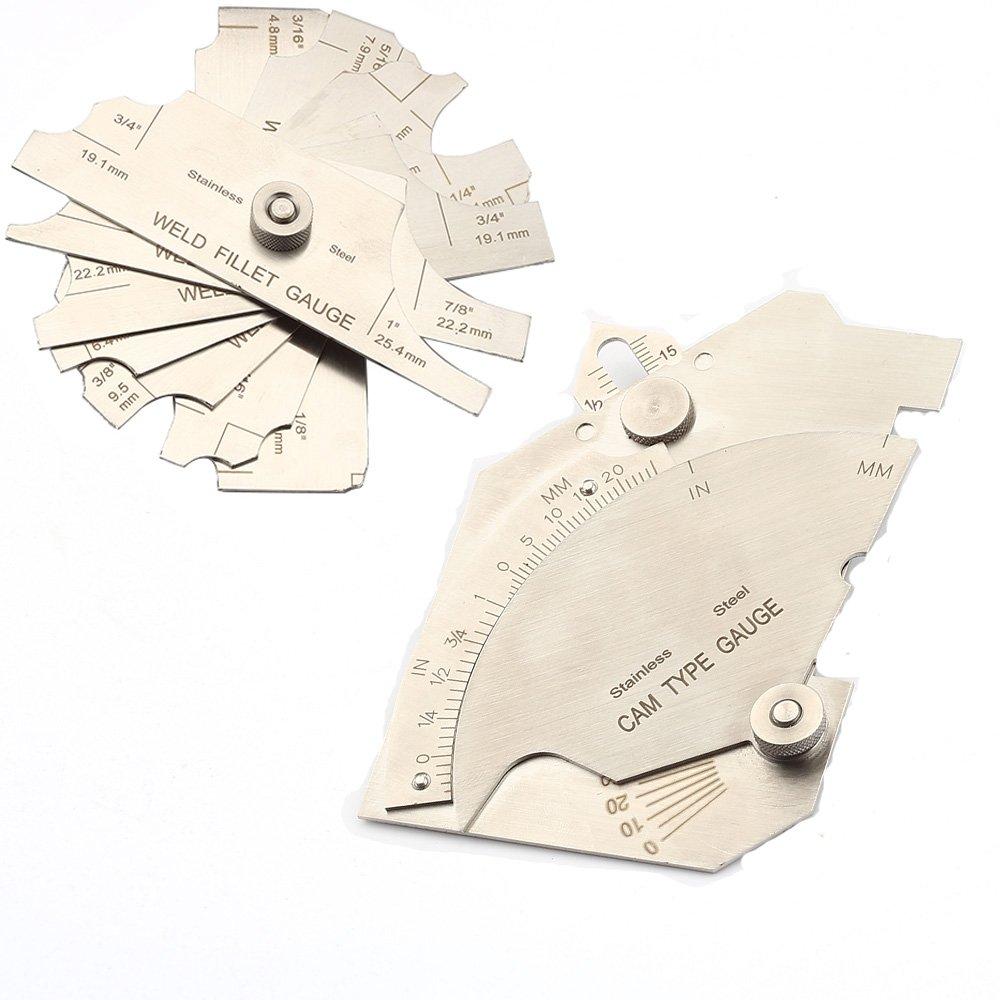 Fillet Weld Gauge Gage Set,7piece Stainless Steel Inspection Welding Gauge Inch//Metric