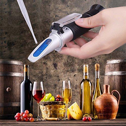 Tiaoyeer Brix Refractometer with ATC Digital Handheld Refractometer for Beer Wine Fruit Sugar, Dual Scale-Specific Gravity 1.000-1.130 and Brix 0-32% (Black) by Tiaoyeer (Image #3)