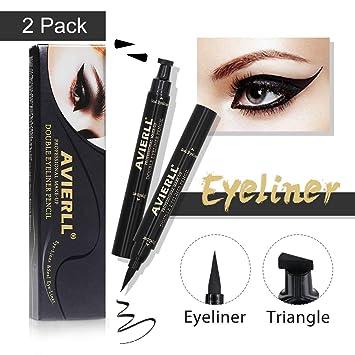 Bright Black Eyes Make Up Eyeliner Pencil Liquid Quick Dry Long Lasting Double-ended Pencils Waterproof Makeup Eyeliner Stamp Pen Eyeliner