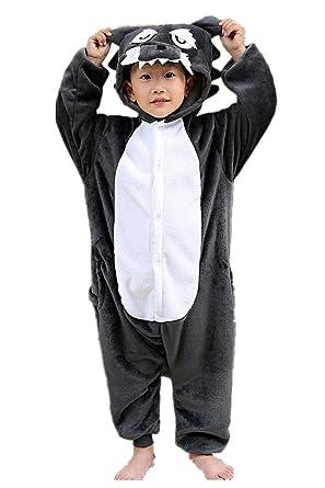 1105baf3e028f Children's Wolf Pajamas Sleeping Wear Kigurumi One Piece Animal Cosplay