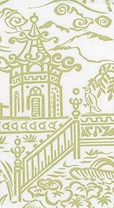 Caspari Hand Towels Bathroom Paper Towels Luxury Guest Towels Paper Linen Asian Decor Pagoda Toile Green Pack of 24