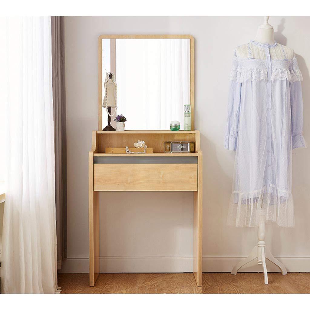 Schminktisch Einfache Montage Jetzt Holz Frisierkommode, FormatfüLlend Silber Spiegel Eitelkeit Make-Up Tisch, Multi-Funktions-Haushalt Rasierspiegel