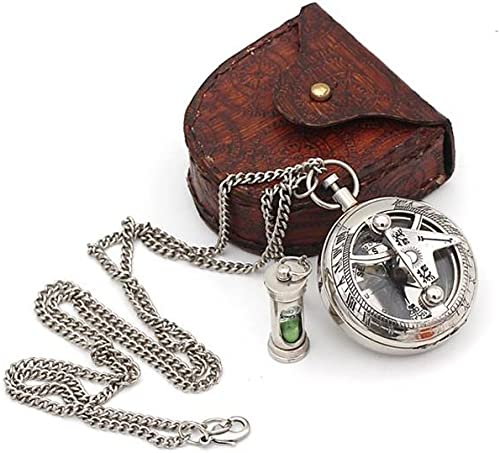 ROORKEE INSTRUMENTS INDIA A NAUTICAL REPRODUCTION HOUSE Best Mens Gifts Necklace Sundial Push Compass with Leather Case